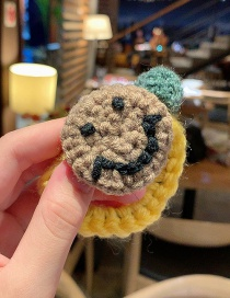 Fashion Khaki Smiley Knitted Hair Rope With Contrasting Smile On Wool