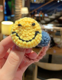 Fashion Yellow Smiley Knitted Hair Rope With Contrasting Smile On Wool