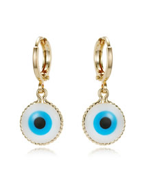Fashion Golden Round Eye Resin Earrings