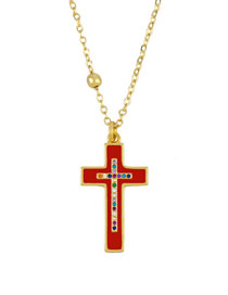 Fashion Red Cross Diamond Oil Drop Necklace
