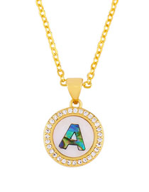 Fashion Golden A Alphabet Round Shell Diamond Necklace