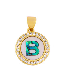 Fashion Golden B Alphabet Round Shell Diamond Necklace