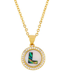 Fashion Golden L Alphabet Round Shell Diamond Necklace