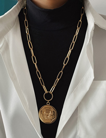 Fashion Golden Geometric Portrait Embossed Necklace