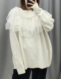 Fashion White Layered Ruffled Knitted Sweater