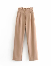 Fashion Khaki High-rise Elasticated Button-straight Pants
