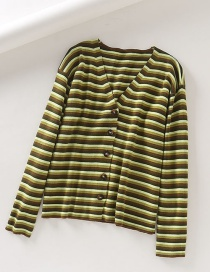 Fashion Green Dropped Shoulder Striped V-neck Sweater