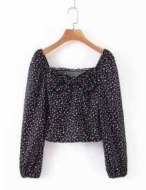 Fashion Black Off-shoulder Puff Sleeve Floral Shirt