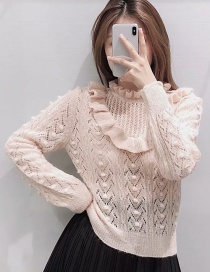 Fashion Pink Stacked Ruffled Cutout Knitted Sweater