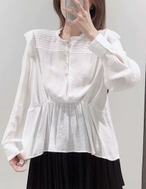 Fashion White Pleated Stack Shirt