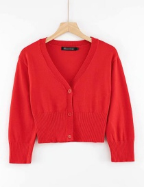 Fashion Red V-neck Single-breasted Knitted Cardigan With Three-quarter Sleeves And Three Buttons