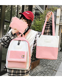 Fashion Pink Contrast Stitching Striped Backpack