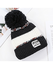 Fashion Black Stitched Contrast Knitted Wool Hat