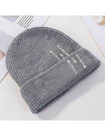 Fashion Gray Woolen Printed Letter Hat