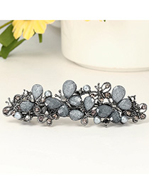 Fashion Dark Gray Irregular Hair Clip With Diamond And Pearl Butterfly