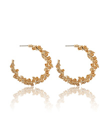 Fashion Golden Flower Round Open Stud Earrings