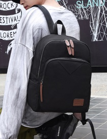Fashion Black Canvas Panel Backpack
