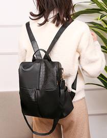 Fashion Black Patchwork Stone Backpack