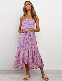 Fashion Pink High Waist Lace Up Floral Print Sling Dress