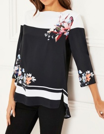 Fashion Black Round Neck Cropped Sleeve Top