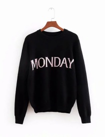 Fashion Monday Lettering Core Yarn Knitted Sweater