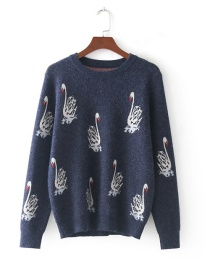 Fashion Blue Swan Embroidered Round Neck Long Sleeve Sweater