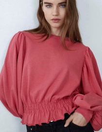 Fashion Red Tunic With Pleated Waist