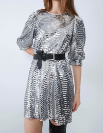 Fashion Silver Sequined Sleeveless Dress