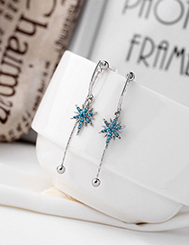 Fashion Blue Star Long Earrings With Diamonds