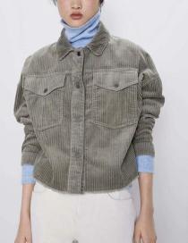 Fashion Green Corduroy Shirt Coat