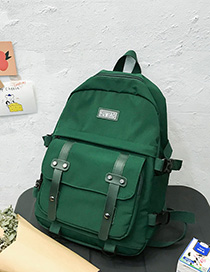 Fashion Dark Green Panel Flap Buckle Backpack