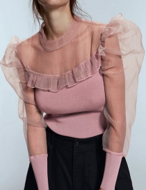 Fashion Pink Sheer Mesh Stitching Long Sleeve Fungus T-shirt