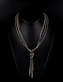 Fashion Black Multi-layer Knotted Tassel Necklace