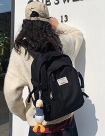 Fashion Black With Pendant Stitched Letter Logo Buckle Backpack