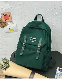Fashion Dark Green Letter-print Backpack With Patch Belt Buckle