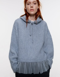 Fashion Blue Patchwork Mesh Knitted Hooded Sweatshirt