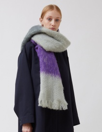 Fashion Purple Large Contrast Mohair Scarf