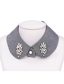Collar Falso De Tela Con Pata De Gallo Y Diamantes