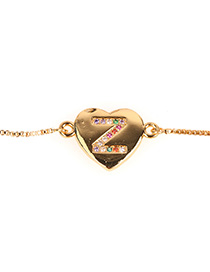 Fashion Z Golden Heart Bracelet With Diamonds And Letters