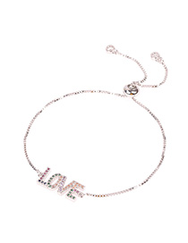 Fashion Silver Adjustable Letter Bracelet With Diamonds