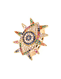 Fashion Color Open Eye Ring With Diamonds