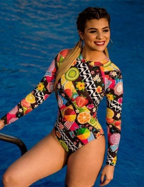 Fashion Fruit Print On Black Long Sleeve Zip Print One Piece Swimsuit