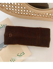 Fashion Dark Coffee Letter Embroidered Knitted Wool Headband