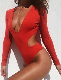 Fashion Red Long-sleeved Deep V-backless One-piece Swim