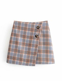 Fashion Gray Check Irregular Skirt