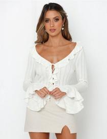 Fashion White Ruffled Lace-up Shirt