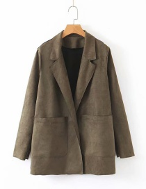 Fashion Army Green Double Pocket Small Suit
