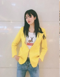 Fashion Yellow Bright Silk Suit