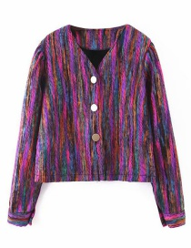 Fashion Color Striped Colorblock Metal Buttoned Coat