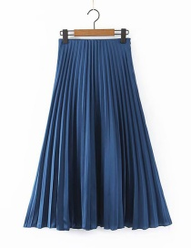 Fashion Blue Pleated Skirt